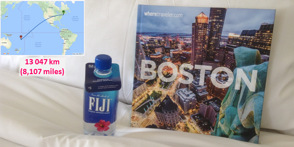 Pour une bouteille d'eau en plastique de la marque Fuji dans un hôtel à Boston, la distance parcourue par la bouteille est de 13 047 km (soit 8 107 miles). Cela représente beaucoup de pétrole, d'émission de CO2 mais aussi de gaspillage d'eau.