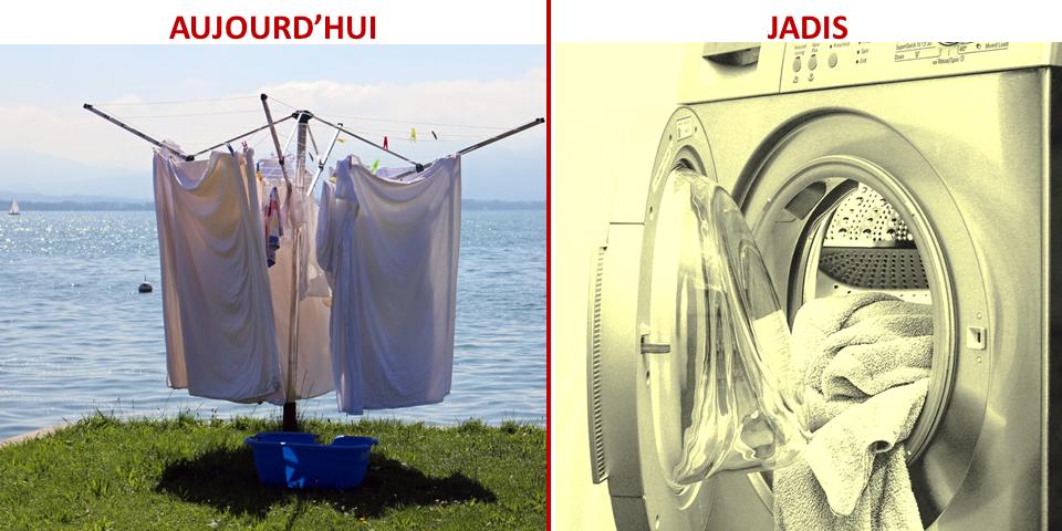 Le sèche linge électrique a été utilisé dans le passé mais aujourd'hui il faut revenir à un séchage naturel en étendant son linge dehors pour réduire son impact environnemental.
