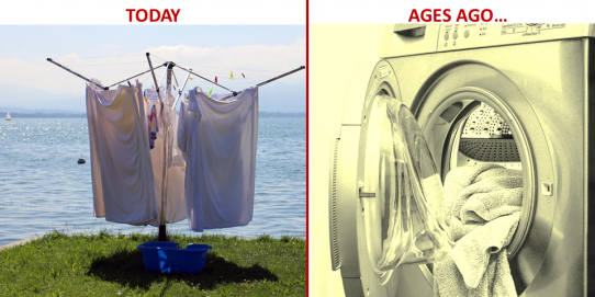 The electric dryer has been used in the past but today it is necessary to return to a natural drying by using a rack and thus reduce our environmental impact.