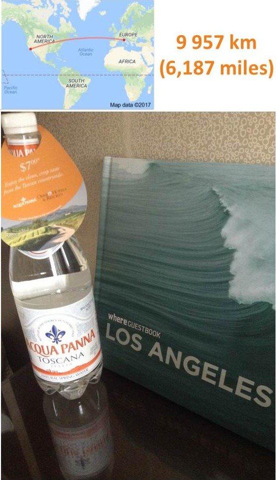 Pour une bouteille d'eau en plastique de la marque Acqua Panna (provenance de Tosacane, Italie) dans un hôtel de Los Angles : la distance parcourue par la bouteille est de 9 957 km (soit 6 187 miles). Cela représente beaucoup de pétrole, d'émission de CO2 mais aussi de gaspillage d'eau.